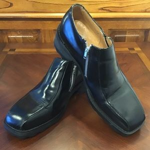John Fluevog Platform Side Zip F-Shoes Black 12